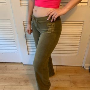Juicy Couture Olive Green Bedazzled Track Pants XS